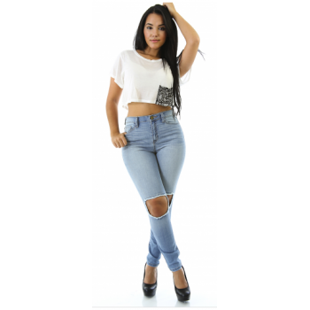Bottoms : relaxed distressed jeans