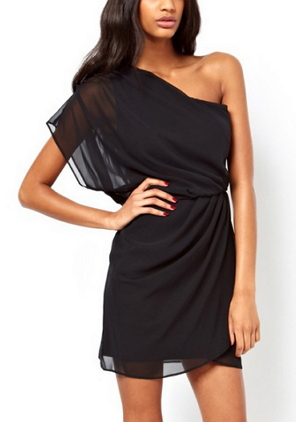 one-shoulder knee-length Chiffon Dress  - Juicy Wardrobe