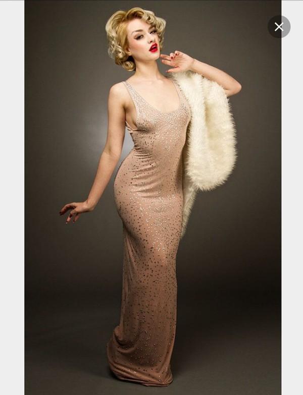 dress, marilyn monroe, girly, tumblr, nude dress, shiny dress ...