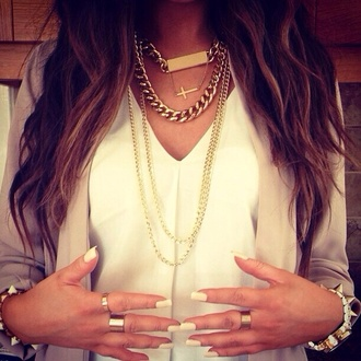jewels gold chain necklace blouse jacket