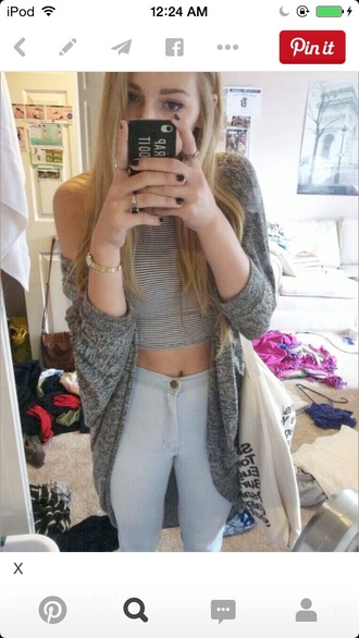 cardigan baggy jeans skinny jeans stripes striped shirt cute spring summer fall winter love everyday casual ring bracelets watch top