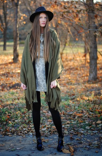 blogger khaki folk yuliasi patterned dress ankle boots poncho
