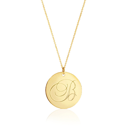 Gold Monogram Necklace - Personalized Initial Disc 1 Inch Balmoral - Pradman Collections