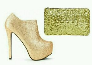Gold glitter platform ankle heels with matching clutch bag