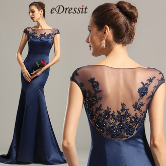 dress edressit prom party navy blue fashion beautiful girl
