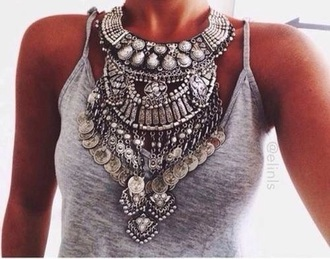 jewels necklace chunky necklace indie style maroco style silver jewelry luxury luxury jewelry