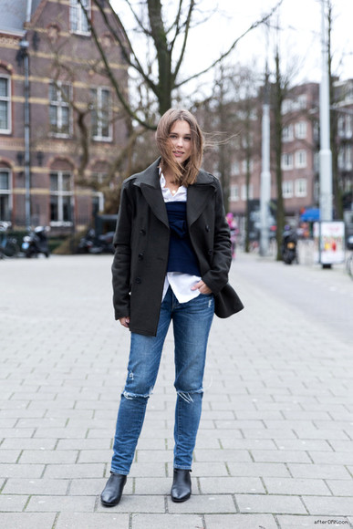 after drk coat sweater jeans shoes shirt