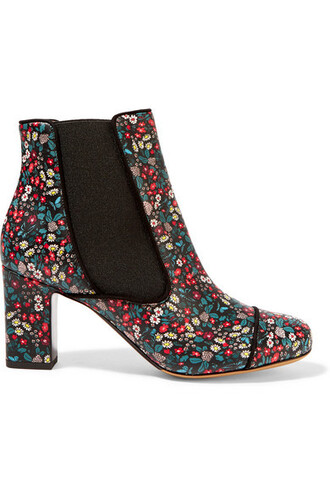 leather ankle boots boots ankle boots floral leather print black shoes