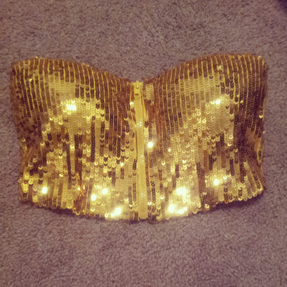 Gold Sequins Bustier Crop Top By Vintageretrofashion On Etsy