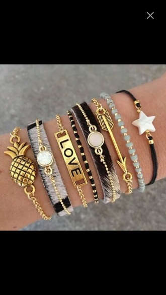 jewels bracelets summer fall outfits ananas gold