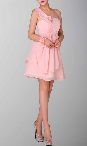 one shoulder pink dress short party dresses short prom dress short bridemaid dresses layered dress cute dress