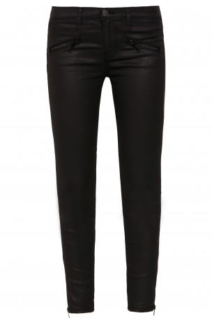 CURRENT/ELLIOTT - Black Zip Front Coated Skinny Jeans | Boutique1.com