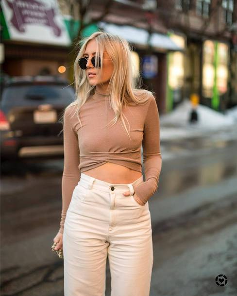 top tumblr nude top long sleeve crop top crop tops jeans white jeans high waisted jeans sunglasses