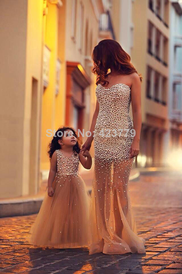 Aliexpress.com : Buy Cute Pearl Top A line V neck Champagne Little Girl Party Dress 2014 Custom Made Tulle Flower Girl Dresses For wedding from Reliable dress overlay suppliers on 27 Dress