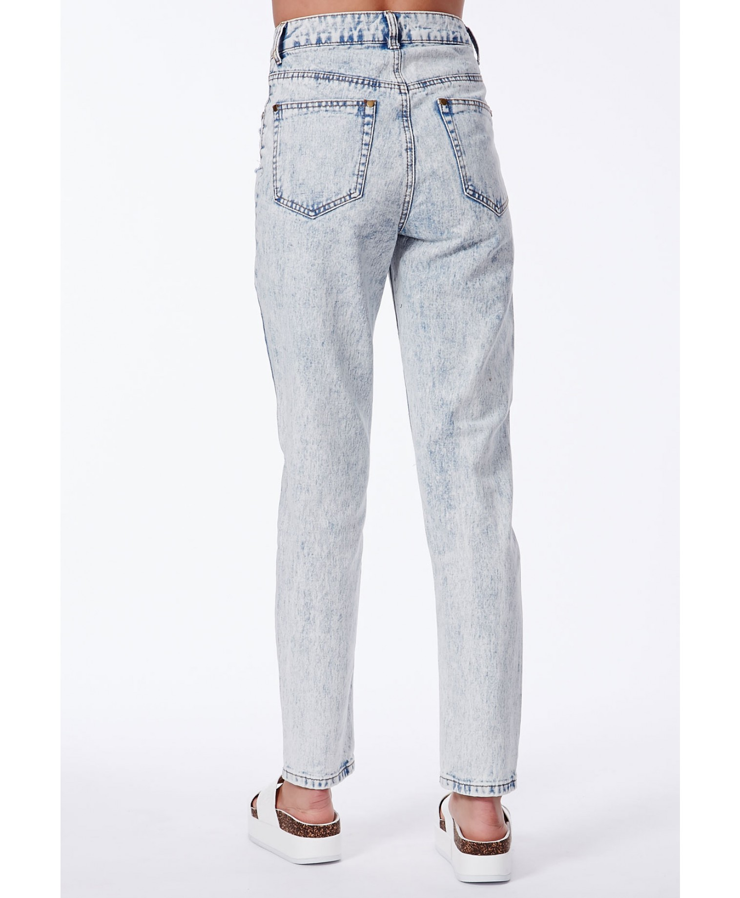 Wanetta ripped acid wash mom jeans