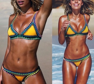 swimwear bikini yellow blue blonde hair green orange tribal pattern sportswear bikini top sexy bikini boho bikini yellow swimwear blue swimwear beautiful swimsuit beach orange swimwear tribal swimwear