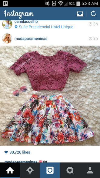 floral skirt purple skirt violet shirt lace shirt violet crop top