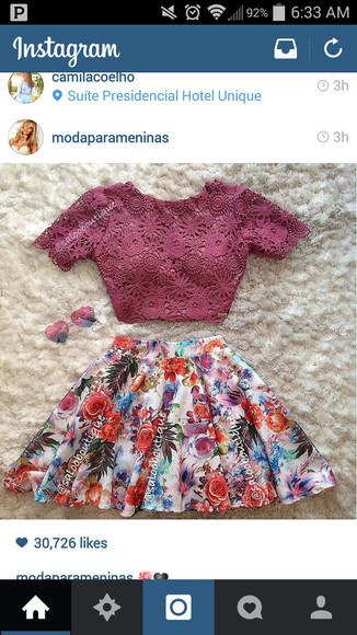 lace shirt floral skirt purple skirt violet shirt violet crop top