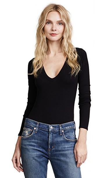 enza costa bodysuit long black underwear