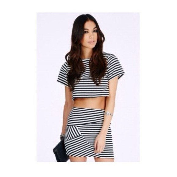 striped skirt black and white dress missguided