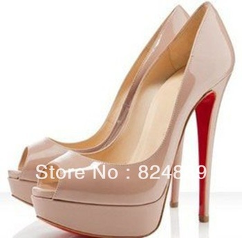 Free shipping shoes woman 2013 fashion red bottom patent leather peep toes shoes,14cm heels,party shoes whosale retail-in Pumps from Shoes on Aliexpress.com