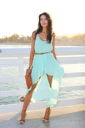 viva luxury,dress,shoes,bag,belt,jewels,maxi dress,so want,blue dress,mint dress,chiffon dress,high-low dresses,light blue,silk,aqua low-high dress,low high dress,outfit,summer dress