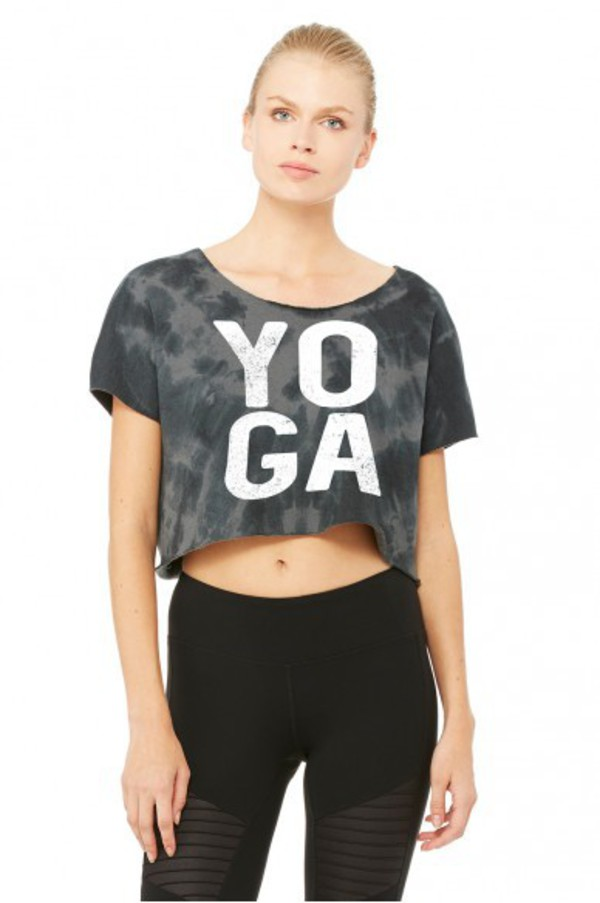 top yoga yoga top workout athleisure cropped t-shirt grey crop top