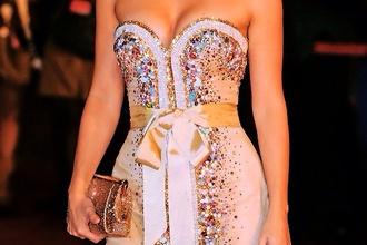 dress gold dress glitter sequins beaded dress gold bow