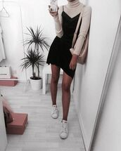 dress,black dress,little black dress,adidas,adidas shoes,cream,beige,marble phone case,white phone case,short dress,long sleeves,cream bag,neutral tones,minimalist,style,fashion,instagram,outfit,tan,white adidas,white,black,turtleneck