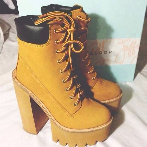 shoes timberlands heels stompers boots timberland heels yellow