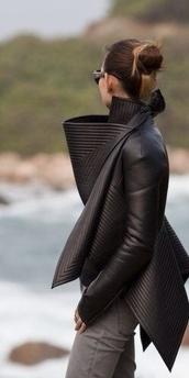 coat,black,black leather,jacket,leather,black leather jacket,fashion,leather jacket,blazer,dress,leather dress,leather feshion,rick owens,dark,layers,neoprene,biker,black coat,modern,padded,details,black jacket