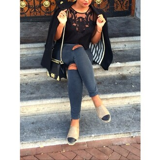 black cute lace lace cami t-shirt top toms ripped jeans floral blazer jeans jacket purse stripes espadrilles