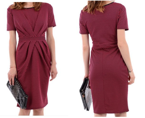 spotted dress dotted dress pink dress pink red dress burgundy fabulous women dress work dress celebrity style celebrity style office dress bossy