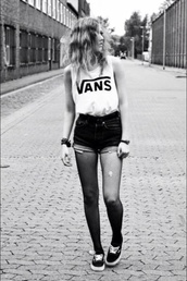 shirt,shorts,blouse,white,vans,black,pants,t-shirt,tank top,black and white,vans shirt,top,vans t-shirt,brand,vans warped tour,shoes,black shoes,home accessory,watch,tights,jewels