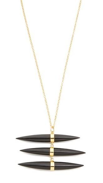 triple necklace gold black jewels