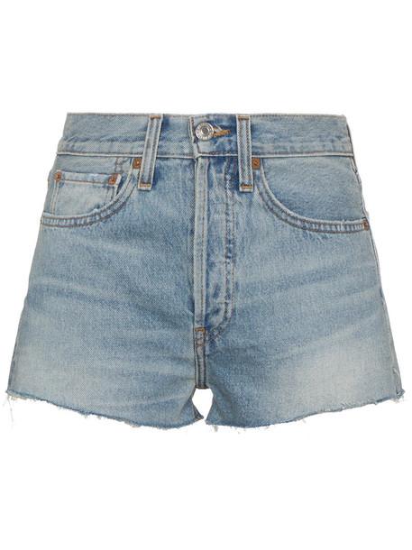 shorts High waisted shorts high waisted high women cotton blue