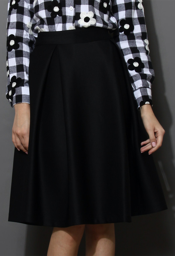 skirt full a-line midi skirt black