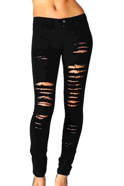 jeans black destroyed skinny jeans