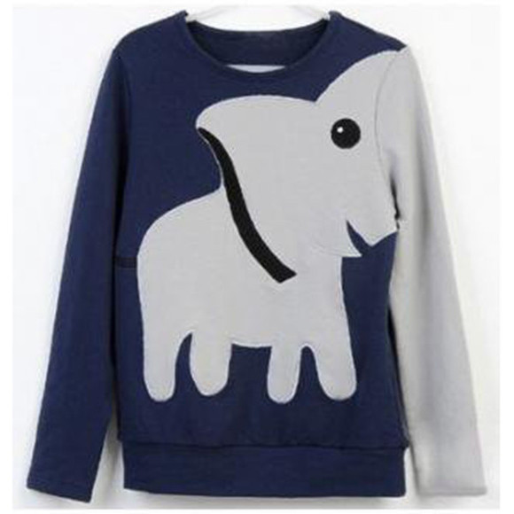 sweater long sleeved elephants leisure funny sweaters