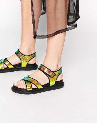 shoes sandals holographic rainbow yellow orange green cute pretty cute shoes strappy sandals