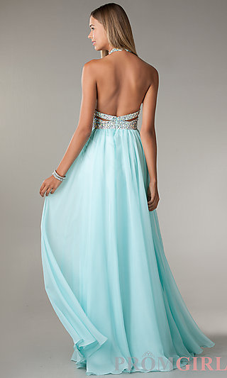 Long Cut Out Prom Dresses, Long Halter Gowns for Prom- PromGirl
