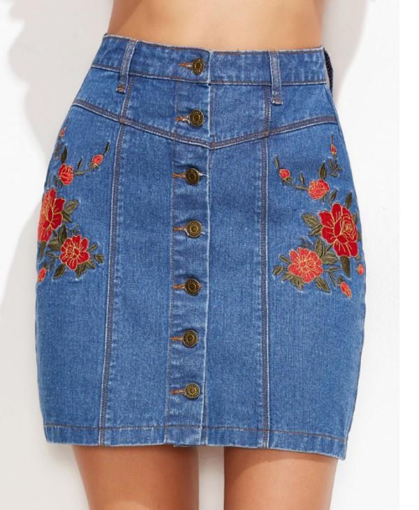 Skirt: girly, girl, girly wishlist, denim, denim skirt, button up ...