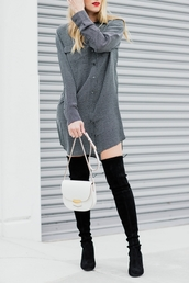 dress,tumblr,grey dress,shirt dress,thigh high boots,boots,black boots,fall outfits,high heels boots,over the knee boots,bag,white bag,long sleeves,long sleeve dress