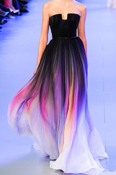 dress floaty black colors rainbow multi colored long dress flowy dress colours sleeveless dress runway runway dress fashion ombre dress prom dress prom pretty dress flowy strapless