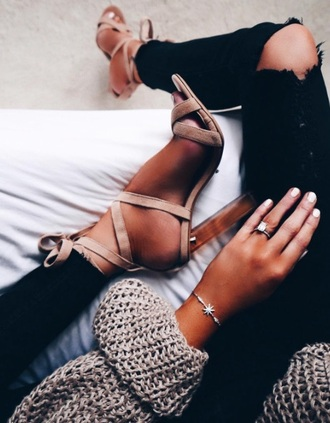 shoes nude strappy heels
