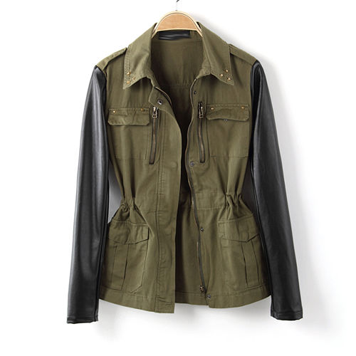 Women Military Green Contrast Jacket Coat Blazer Faux Leather Sleeve Stud Collar | eBay