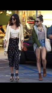 pants,vanessa hudgens,stella hudgens,jacket,crop tops,shirt,sweater,tank top,shoes,jewels