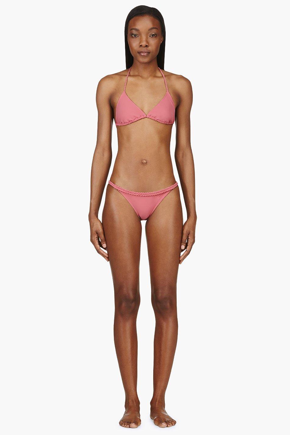 Chlo Rose Pink Braided Strap Triangle Bikini