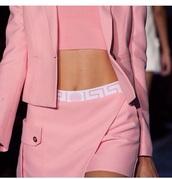 skirt,pink,versace,top,jacket,pastel,mini skirt