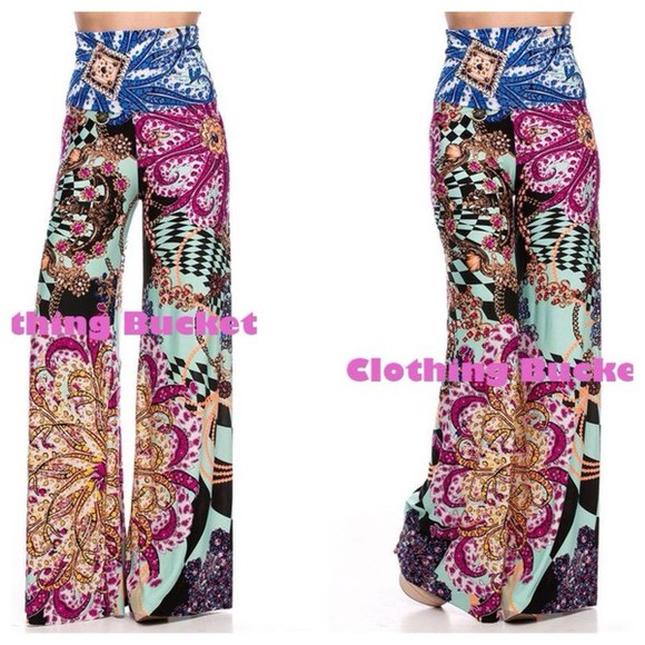printed pants high waisted pants palazzo formal pants casual fashion paisley mint colorful clothes trendy blogger